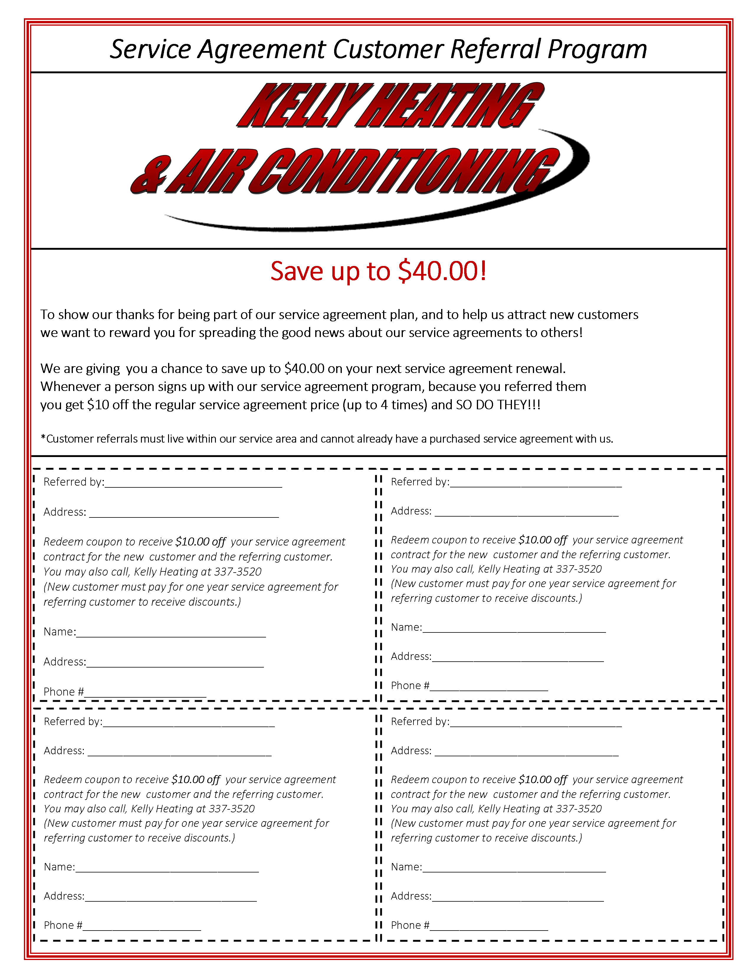Service Agreement Referral Form
